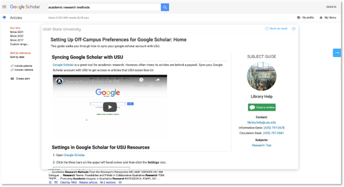 Google Scholar LibGuide, Utah State University